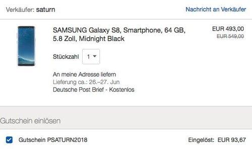 eBay Saturn 19% Sparen auf Samsung: z. B. SAMSUNG Galaxy S8, Smartphone, 64 GB, 5.8 Zoll, Midnight Black - jetzt 19% billiger