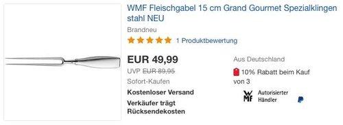 eBay WMF-Aktion: WMF Fleischgabel 15 cm Grand Gourmet Spezialklingenstahl - jetzt 17% billiger