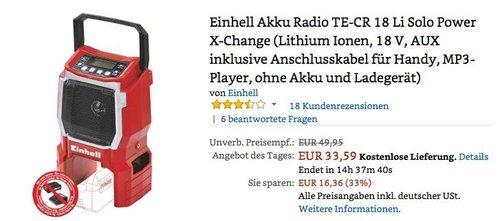 Einhell Akku Radio TE-CR 18 Li Solo Power X-Change - jetzt 28% billiger