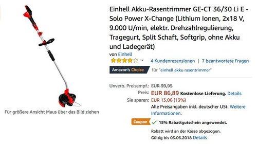 Einhell Akku-Rasentrimmer GE-CT 36/30 Li E - Solo Power X-Change (ohne Akku und Ladegerät) - jetzt 15% billiger