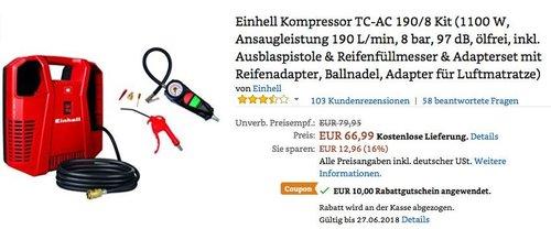 Einhell Kompressor TC-AC 190/8 Kit inkl. Ausblaspistole & Reifenfüllmesser & Adapterset mit Reifenadapter, Ballnadel, Adapter für Luftmatratze) - jetzt 15% billiger