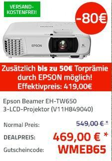 Epson Beamer EH-TW650 3-LCD-Projektor mit bis zu 50€ Torprämie von Epson - jetzt 13% billiger