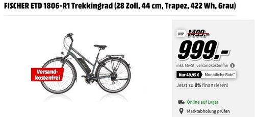 FISCHER ETD 1806-R1 E-Bike Trekkingrad (28 Zoll, 44 cm, Trapez, 422 Wh, Grau) - jetzt 18% billiger