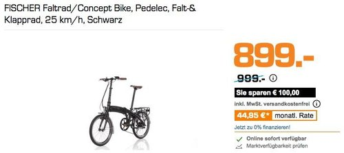 FISCHER Faltrad/Concept Bike, Pedelec, Falt-& Klapprad, 25 km/h, - jetzt 10% billiger