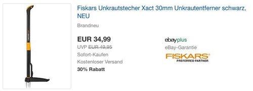 Fiskars Unkrautstecher Xact 30mm - jetzt 8% billiger