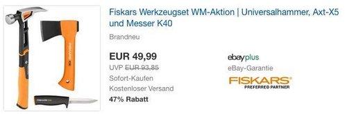 Fiskars Werkzeugset: Universalhammer, Axt-X5 und Messer K40 - jetzt 39% billiger