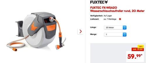 FUXTEC FX-WSA20 Wasserschlauchaufroller rund, 20 Meter - jetzt 24% billiger
