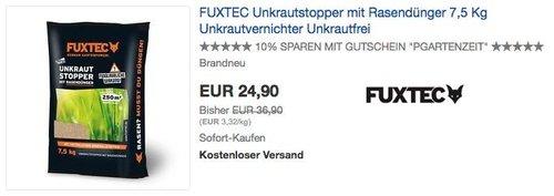 FUXTEC Unkrautstopper mit Rasendünger 7,5 Kg - jetzt 25% billiger