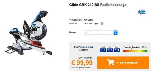 Güde GRK 210 BS Radialkappsäge - jetzt 21% billiger
