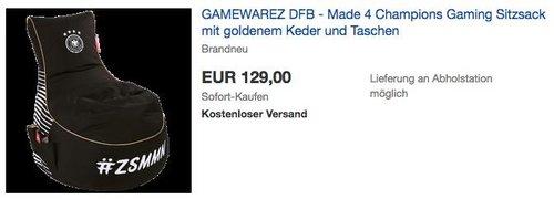 GAMEWAREZ DFB - Made 4 Champions Gaming Sitzsack - jetzt 14% billiger