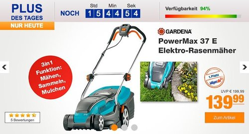 Gardena PowerMax 37 E Elektro-Rasenmäher - jetzt 15% billiger
