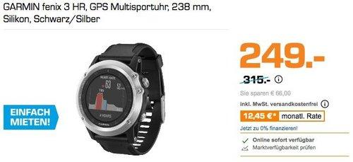 GARMIN fenix 3 HR, GPS Multisportuhr, 238 mm Silikon, Schwarz/Silber - jetzt 21% billiger