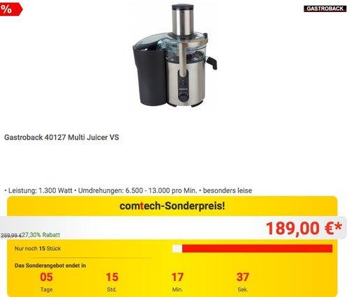 Gastroback 40127 Multi Juicer VS Entsafter - jetzt 19% billiger