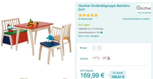 Geuther Kindersitzgruppe Bambino bunt - jetzt 15% billiger