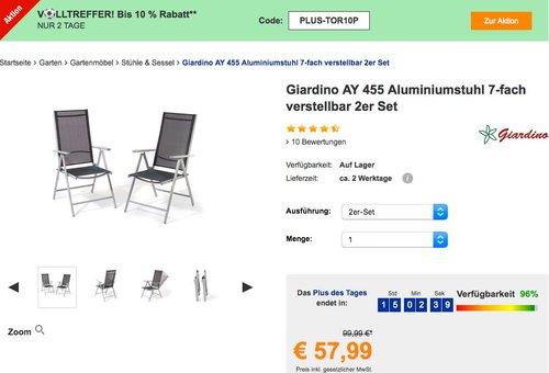 Giardino AY 455 Aluminiumstuhl 7-fach verstellbar 2 Stück - jetzt 16% billiger