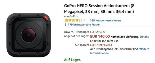GoPro HERO Session Actionkamera - jetzt 15% billiger