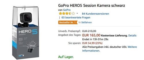 GoPro HERO5 Session Actioncam Kamera - jetzt 13% billiger
