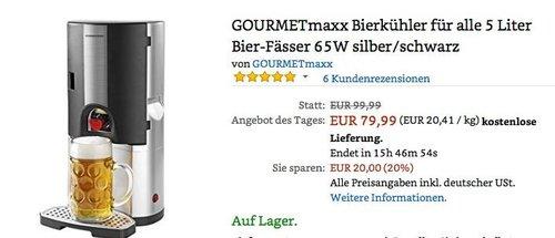 GOURMETmaxx Bierkühler für alle 5 Liter Bier-Fässer - jetzt 20% billiger