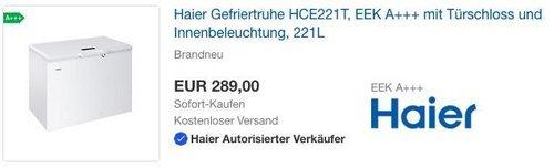 Haier Gefriertruhe HCE221T, EEK A+++ mit Türschloss und Innenbeleuchtung, 221L - jetzt 29% billiger