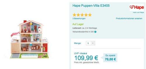 Hape Puppen-Villa E3405 - jetzt 9% billiger