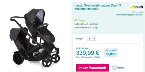 hauck Geschwisterwagen Duett 3 Melange charcoal - jetzt 14% billiger