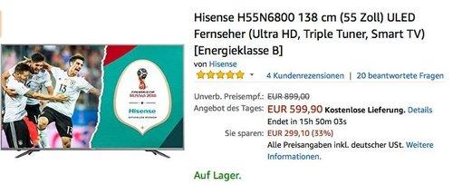 Hisense H55N6800 138 cm (55 Zoll) ULED Fernseher - jetzt 19% billiger