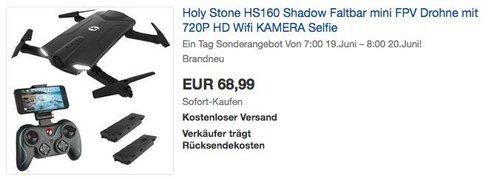 Holy Stone HS160 Shadow Faltbar mini FPV Drohne mit 720P HD Wifi KAMERA Selfie - jetzt 23% billiger