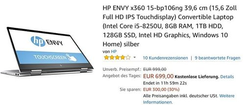 HP ENVY x360 15-bp106ng 39,6 cm (15,6 Zoll Full HD IPS Touchdisplay) Convertible Laptop (Intel Core i5-8250U, 8GB RAM, 1TB HDD, 128GB SSD, Intel HD Graphics, Windows 10 Home) - jetzt 24% billiger