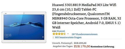 HUAWEI MediaPad M3 lite 10, 3 GB RAM, 32 GB interner Speicher - jetzt 28% billiger