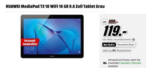 HUAWEI MediaPad T3 10 WiFi 16 GB 9.6 Zoll Tablet Grau - jetzt 17% billiger