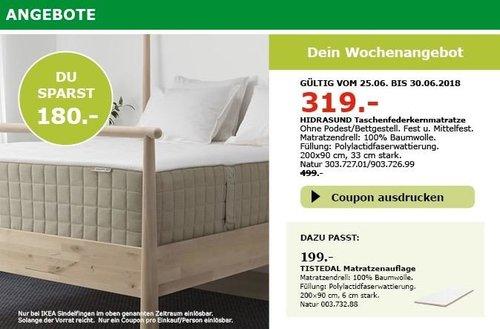 IKEA HIDRASUND Taschenfederkernmatratze, 200x90 cm, 33 cm stark - jetzt 34% billiger