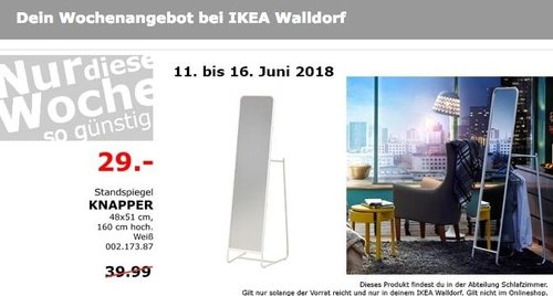 IKEA KNAPPER Standspiegel - jetzt 27% billiger