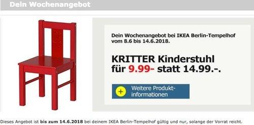 IKEA KRITTER Kinderstuhl rot - jetzt 33% billiger
