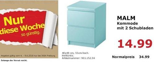 IKEA MALM Kommode mit 2 Schubladen, helltürkis - jetzt 57% billiger