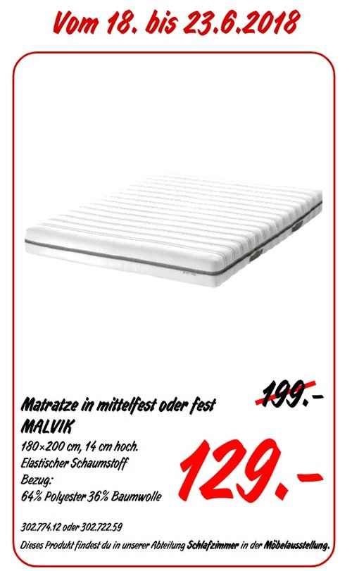 IKEA MALVIK Matratze 180x200 cm, 14 cm hoch - jetzt 35% billiger