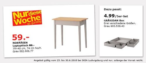 IKEA NORRASEN Laptoptisch - jetzt 34% billiger