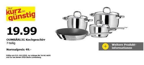IKEA OUMBÄRLIG Kochgeschirr 7-tlg - jetzt 59% billiger