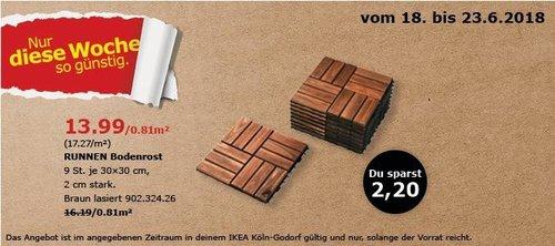 IKEA RUNNEN Bodenrost 9 St. - jetzt 14% billiger