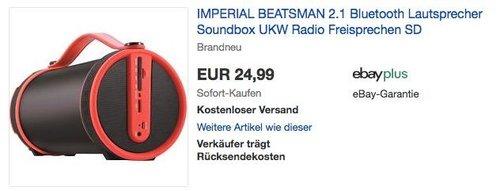 IMPERIAL BEATSMAN 2.1 Bluetooth Lautsprecher - jetzt 38% billiger