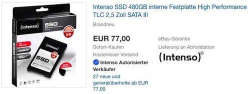 Intenso High Performance interne SSD 480 GB Festplatte - jetzt 15% billiger