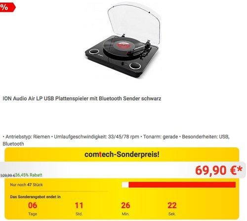 ION Audio Air LP USB Plattenspieler mit Bluetooth Sender - jetzt 18% billiger