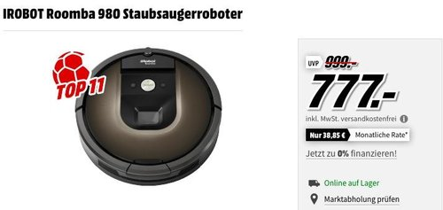 IROBOT Roomba 980 Staubsaugerroboter - jetzt 18% billiger
