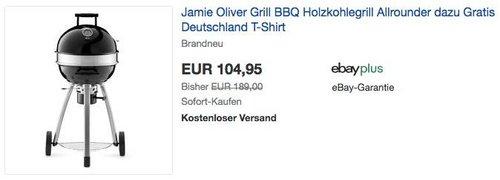 Jamie Oliver Grill BBQ Allrounder Holzkohlegrill plus Deutschland T-Shirt gratis dazu - jetzt 34% billiger