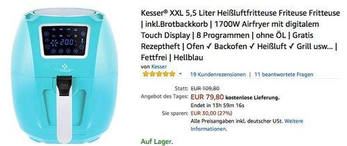 Kesser® XXL 5,5 Liter Heißluftfritteuse - jetzt 27% billiger