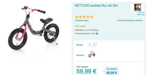 KETTLER Laufrad Run Air Girl - jetzt 24% billiger