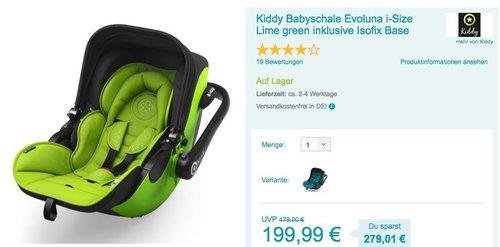 Kiddy Babyschale Evoluna i-Size Lime green inklusive Isofix Base - jetzt 35% billiger