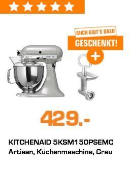 KITCHENAID 5KSM150PSEMC Artisan Küchenmaschine inkl. KITCHENAID 5FGA Fleischwolf (Vorsatz) - jetzt 9% billiger
