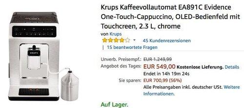 Krups Kaffeevollautomat EA891C Evidence - jetzt 13% billiger