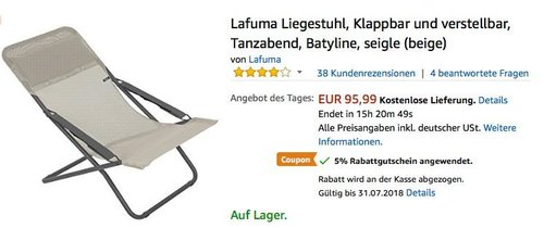 Lafuma Liegestuhl, Klappbar und verstellbar, Tanzabend, Batyline, seigle (beige) - jetzt 16% billiger