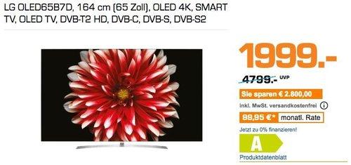 LG OLED65B7D 164 cm (65 Zoll) OLED 4K Fernseher - jetzt 21% billiger